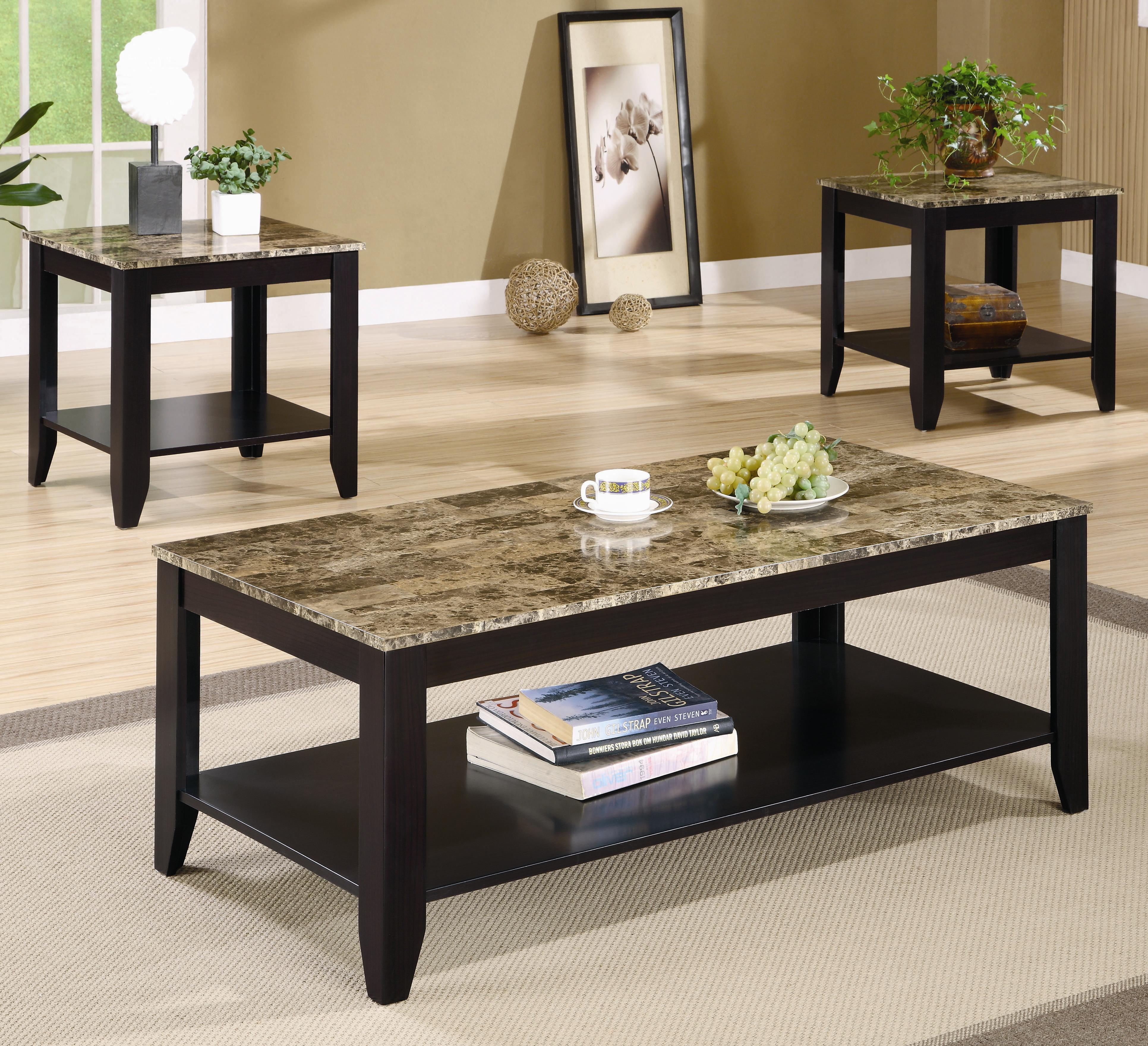Table Set. Coffee Table. End Table & 3 Piece Occasional Table Set with Shelf and Marble Look Top